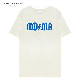 [期間限定 | 30%OFFセール] FASHION CRIMINAL (ファッション クリミナル) IVORY & BLUE TEE (IVORY/BLUE) [Tシャツ カットソー トップス オーバーサイズ プリント ロゴ メンズ ユニセックス 半袖] [アイボリー/ブルー]