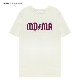 [期間限定 | 30%OFFセール] FASHION CRIMINAL (ファッション クリミナル) IVORY & BERRY TEE (IVORY/BERRY) [Tシャツ カットソー トップス オーバーサイズ プリント ロゴ メンズ ユニセックス 半袖] [アイボリー/ベリー]