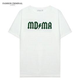【最大80%OFF SALE】FASHION CRIMINAL (ファッション クリミナル) FOREST GREEN TEE (WHITE/GREEN) [Tシャツ カットソー トップス オーバーサイズ ビッグシルエット ブランド プリント ロゴ ストリート メンズ ユニセックス 半袖] [ホワイト/グリーン]