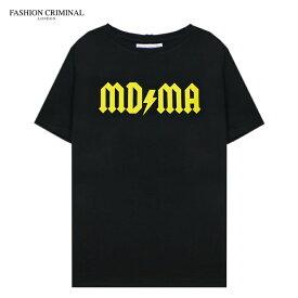 FASHION CRIMINAL (ファッション クリミナル) BLACK & YELLOW TEE (BLACK/YELLOW) [Tシャツ カットソー トップス オーバーサイズ ブランド プリント ロゴ ストリート メンズ ユニセックス 半袖] [ブラック/イエロー]