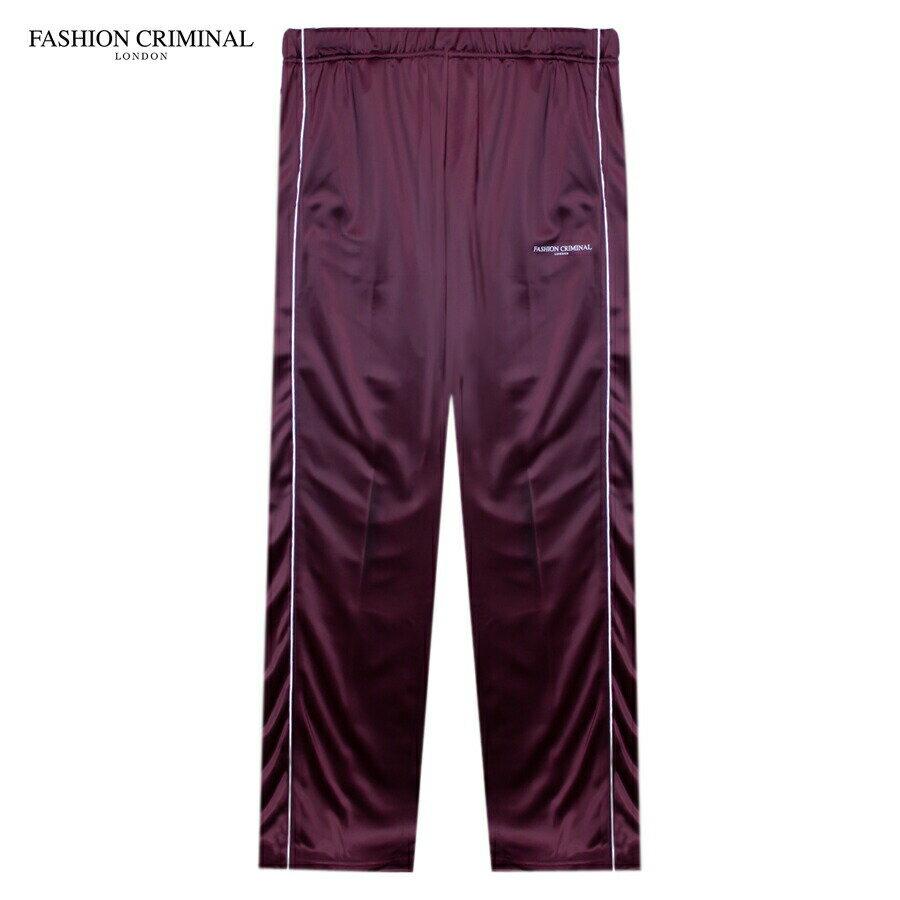 FASHION CRIMINAL (ファッション クリミナル) FIG BUTTON TRACK PANTS (BURGUNDY) [トラックパンツ/スウェット/サイドライン/ロゴ/UNISEX] [バーガンディ]