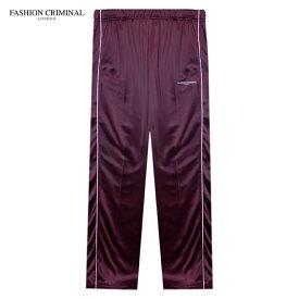 FASHION CRIMINAL (ファッション クリミナル) FIG BUTTON TRACK PANTS (BURGUNDY) [トラックパンツ ジャージ スウェット ボトムス サテン サイドライン ロゴ スポーツ メンズ ユニセックス] [バーガンディ]