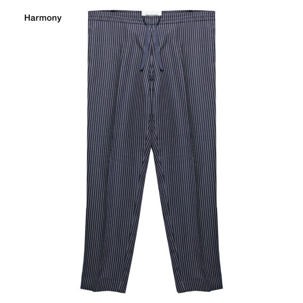HARMONY (ハーモニー) PERRY TROUSER (NAVY/WHITE STRIPE) [トラウザー/パンツ/スラックス/タック/ピンストライプ/スリム/MENS] [ネイビー/ホワイト ストライプ]