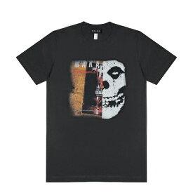 HEIRS (ヘアーズ) MAKAVELI x MISFITS TEE (BLACK) [T-シャツ カットソー トップス ブランド ダメージ ヴィンテージ バンド ツアー パンク ロック ラップ ヒップホップ ストリート スケート メンズ ユニセックス 半袖] [ブラック]