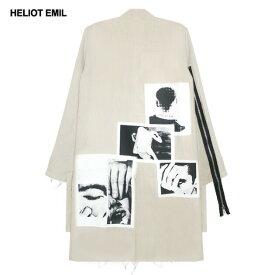 【半額50%OFFクーポン】HELIOT EMIL (エリオット エミル) RAW COAT (BEIGE) [ロングコート ジャケット アウター ブランド スプリング スタンドカラー グラフィック パッチ ストリート モード メンズ レディース ユニセックス UNISEX] [ベージュ]