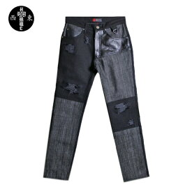 HOMME BOY (オム ボーイ) MOD. 8B COL. 2 - CONTRAST JEANS (BLACK) [デニムパンツ ジーンズ ボトムス ブランド レザー ダメージ パネル チェーン ストレート ストリート グランジ ロック メンズ ユニセックス 切り替え] [ブラック]