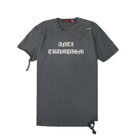 【最大50%OFF x P10】HOMME BOY (オム ボーイ) TEE. 25B 'ANTI-TRUMPISM' DISTRESSED (GREY) [Tシャツ カットソー トップス ブランド ダメージ ロゴ クロス ストリート グランジ ロック メンズ レディース ユニセックス 十字架 半袖 UNISEX] [グレー]