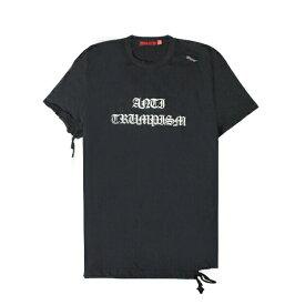 【最大70%OFF】HOMME BOY (オム ボーイ) TEE. 25B 'ANTI-TRUMPISM' DISTRESSED (BLACK) [Tシャツ カットソー トップス ブランド ダメージ ロゴ クロス ストリート グランジ ロック メンズ ユニセックス 十字架 半袖] [ブラック]