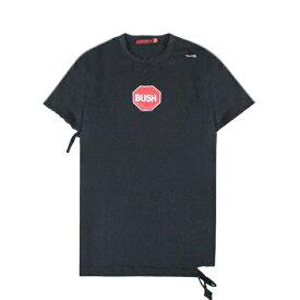 【最大50%OFF x P10】HOMME BOY (オム ボーイ) TEE. 24B 'BUSH' DISTRESSED (BLACK) [Tシャツ カットソー トップス ブランド ダメージ ロゴ ブッシュ ストリート グランジ ロック メンズ レディース ユニセックス 半袖 UNISEX] [ブラック]