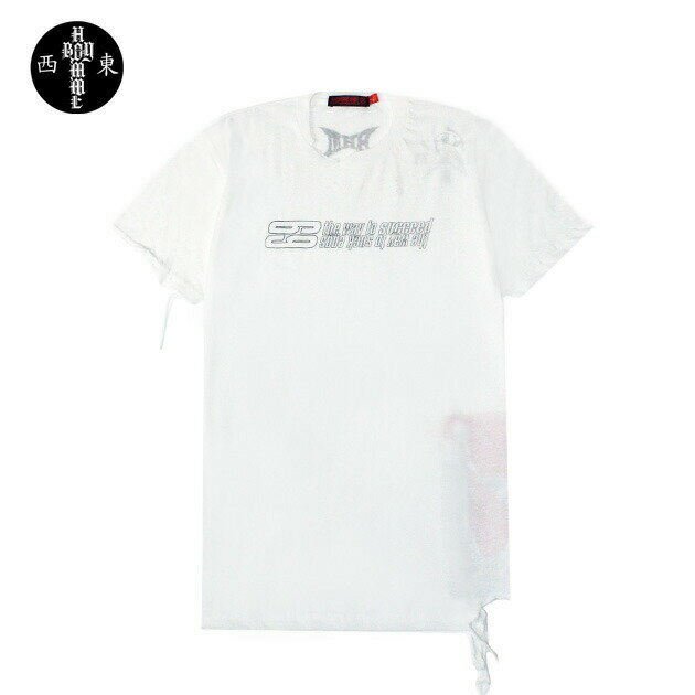 ◆ SALE セール 最大80%OFF ◆ HOMME BOY (オム ボーイ) TEE. 22B '69' DISTRESSED (WHITE) [Tシャツ/カットソー/ダメージ/パッチ/ロゴ/UNISEX] [ホワイト]