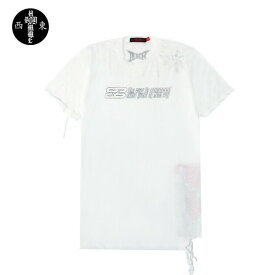 【半額50%OFFクーポン】HOMME BOY (オム ボーイ) TEE. 22B '69' DISTRESSED (WHITE) [Tシャツ カットソー トップス ブランド ダメージ パッチ ロゴ ストリート グランジ ロック メンズ レディース ユニセックス 半袖 UNISEX] [ホワイト]