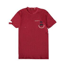 【最大70%OFF】HOMME BOY (オム ボーイ) TEE. 21B 'CHERRY' DISTRESSED (MAROON) [Tシャツ カットソー トップス ブランド ダメージ ロゴ ストリート グランジ ロック メンズ レディース ユニセックス 刺繍 半袖 UNISEX] [マロン]