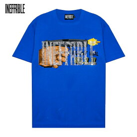 INEFFABLE (イネファブル) DON'T DIAL 911 CUSTOM VINTAGE TEE (BLUE) [Tシャツ カットソー トップス ブランド ラインストーン カスタム ヴィンテージ ストリート スポーツ スケート メンズ ユニセックス 半袖] [ブルー]