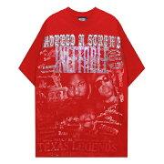 INEFFABLE(イネファブル)RIPDJSCREWCUSTOMTEE(RED)[Tシャツ/カットソー/グラフィック/ラインストーン/ロゴ/ヴィンテージ/UNISEX][レッド]