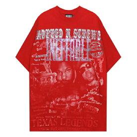 INEFFABLE (イネファブル) R.I.P. DJ SCREW CUSTOM VINTAGE TEE (RED) [Tシャツ カットソー トップス ブランド ラインストーン カスタム ヴィンテージ ストリート スポーツ スケート メンズ ユニセックス 半袖] [レッド]