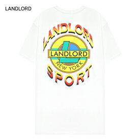 LANDLORD NEW YORK (ランドロード) LANDLORD SPORT T-SHIRT (WHITE) [Tシャツ カットソー トップス ブランド ネオン グラフィック ロゴ カジュアル ストリート モード スケート サーフ メンズ ユニセックス 反射パネル 半袖] [ホワイト]