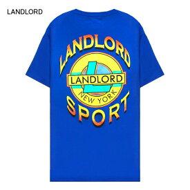 【半額50%OFFセール】LANDLORD NEW YORK (ランドロード) LANDLORD SPORT T-SHIRT (BLUE) [Tシャツ カットソー トップス ブランド ネオン グラフィック ロゴ カジュアル ストリート モード スケート サーフ メンズ ユニセックス 反射パネル 半袖] [ブルー]