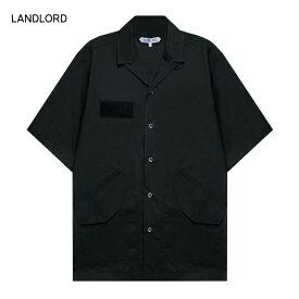 【30%OFFセール】LANDLORD NEW YORK (ランドロード) CWU-45 SHORT SLEEVE SHIRT (BLACK) [オープンカラーシャツ 開襟シャツ トップス ブランド サファリシャツ ポケット カジュアル ストリート モード メンズ ユニセックス 無地 半袖] [ブラック]