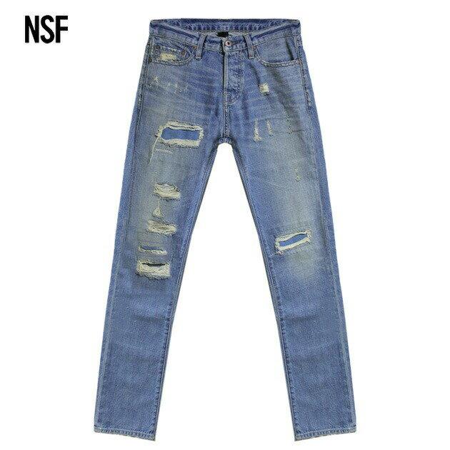 NSF CLOTHING (エヌエスエフ) OZZY DENIM (TIBET) [デニムパンツ/ジーンズ/ストレート/ウォッシュ/ダメージ/加工/MENS] [ブルー]