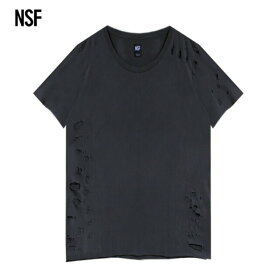 [半額50%OFF] NSF CLOTHING (エヌエスエフ) PHILIPPE TEE (BLACK SUPER DESTROY) [Tシャツ カットソー トップス ブランド ダメージ プレーン カジュアル ストリート メンズ ユニセックス 無地 半袖] [ブラック]
