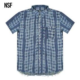 NSF CLOTHING (エヌエスエフ) KEN TIE DYE PRINT CHAMBRAY S S WOVEN SHIRT (COPPER) [ボタンシャツ シャンブレー メンズ ユニセックス] [インディゴ]