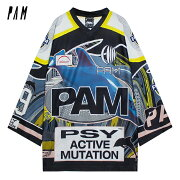 P.A.M./PERKSANDMINI(パム/パークスアンドミニ)NEWWORLDSOVERSIZEDSUBLIMATIONTOP(BLUE/YELLOW/PINK)[Tシャツ/カットソー/トップス/プリント/ロゴ/グラフィック/PAM/UNISEX][ブルー/イエロー/ピンク]