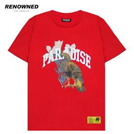 [期間限定 | 30%OFFセール] RENOWNED LA (リナウンド) PARADISE EAGLE TEE (RED) [Tシャツ カットソー トップス ブランド ロゴ ストリート スポーツ スケート メンズ ユニセックス 半袖] [レッド]
