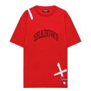 RENOWNEDLA(リナウンド)SHADOWSPRAYLINESTEE(RED)[Tシャツ/カットソー/トップス/グラフィック/ロゴ/UNISEX][レッド]