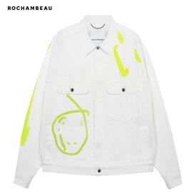 ROCHAMBEAU (ロシャンボー) SHORT JACKET (WHITE) [トラックジャケット デニム アウター オーバーサイズ ビッグシルエット ブランド ロゴ ペイント ストリート モード メンズ ユニセックス] [ホワイト]