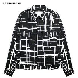 ROCHAMBEAU (ロシャンボー) SHORT JACKET (GRID) [トラックジャケット デニム アウター オーバーサイズ ビッグシルエット ブランド ロゴ ストリート モード メンズ レディース ユニセックス UNISEX] [ブラック]