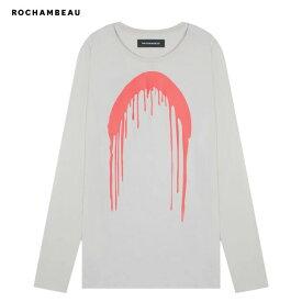【半額50%OFFクーポン】ROCHAMBEAU (ロシャンボー) PAINT DRIP LONG SLEEVE TEE (STONE) [ロングスリーブ Tシャツ ロンT トップス ブランド ロゴ グラフィック オーバーサイズ ビッグシルエット ストリート メンズ ユニセックス 長袖] [ストーン]