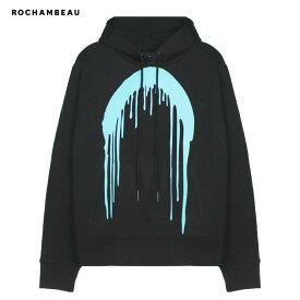 ROCHAMBEAU (ロシャンボー) PAINT DRIP HOODIE (BLACK) [プルオーバーフーディ パーカー スウェット トップス ブランド ロゴ グラフィック ドリップ ストリート モード メンズ レディース ユニセックス UNISEX] [ブラック]