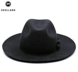 【半額50%OFFセール】SOULLAND (ソウルランド) BILLE FEDORA HAT (BLACK) [フェドラハット ワイドブリムハット ロング ウール フェルト ブランド カジュアル ストリート メンズ レディース ユニセックス 中折れ 帽子 UNISEX] [ブラック]