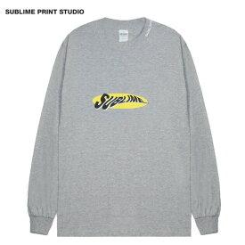 SUBLIME PRINT STUDIO (サブライム プリント ステューディオ) SUBLIME WARP LOGO LS T-SHIRT (GREY) [ロングスリーブ Tシャツ ロンT カットソー ブランド グラフィック ロゴ ストリート メンズ レディース ユニセックス 刺繍 長袖 UNISEX] [グレー]