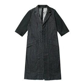 UEG (ウーサーエジェッタ / ユーイージー) REVERSIBLE SHORTSLEEVE COAT (BLACK) [チェスターコート アウター リバーシブル デニム ロング ブランド ストリート モード メンズ ユニセックス 五分袖] [ブラック]