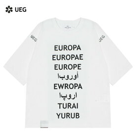 UEG (ウーサーエジェッタ / ユーイージー) OVERSIZED TEE REFUGEE (WHITE) [Tシャツ カットソー トップス オーバーサイズ ビッグシルエット ブランド アラビア ロゴ グラフィック ストリート メンズ レディース ユニセックス 半袖 UNISEX] [ホワイト]