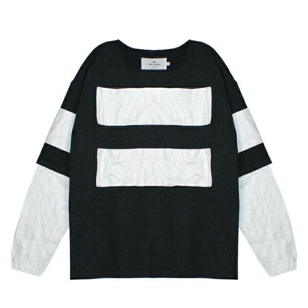 ◆ SALE セール 最大80%OFF ◆ UEG (ウーサーエジェッタ / ユーイージー) SWEATSHIRT W/BANNERS (BLACK/WHITE) [スウェットシャツ/トレーナー/タイベック/オーバーサイズ/切り替え/UNISEX] [ブラック/ホワイト]
