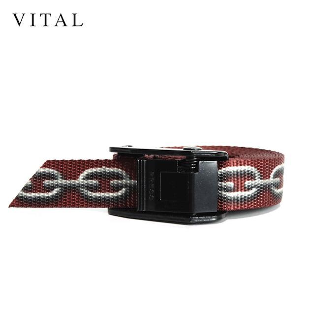 VITAL (ヴァイタル)CHAIN - LINK BELT (BLACK/BURGUNDY) [ロングベルト/インダストリアル/バックル/チェーン/ロゴ/UNISEX] [ブラック/バーガンディ]