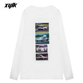 XYLK (シルク) SKYLINE R32 GT-R LONGSLEEVE T-SHIRT (WHITE) [ロングスリーブ Tシャツ ロンT カットソー トップス ブランド スカイライン ロゴ グラフィック ストリート スポーツ スケート メンズ レディース ユニセックス 長袖 UNISEX] [ホワイト]