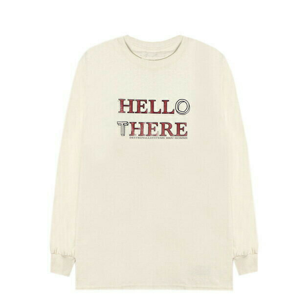 BRIU HOMME (ブリウ オム) HELL HERE/HELLO THERE LONGSLEEVE (KHAKI) [ロングスリーブ/Tシャツ/カットソー/プリント/グラフィック/ロゴ/UNISEX] [カーキ]