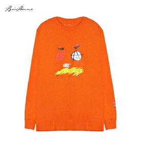 BRIU HOMME (ブリウ オム) DEFINITION LONGSLEEVE (ORANGE) [ロングスリーブ Tシャツ ロンT カットソー トップス ブランド プリント ロゴ ストリート スポーツ スケート メンズ ユニセックス 長袖] [オレンジ]
