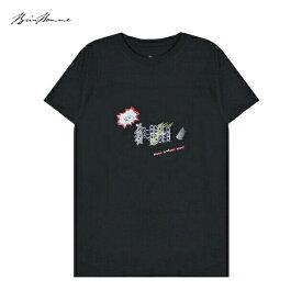 BRIU HOMME (ブリウ オム) NEW ORDER T-SHIRT (BLACK) [Tシャツ カットソー トップス ブランド プリント グラフィック ロゴ ストリート スポーツ スケート メンズ レディース ユニセックス 半袖 UNISEX] [ブラック]