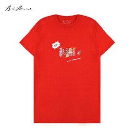 BRIU HOMME (ブリウ オム) NEW ORDER T-SHIRT (RED) [Tシャツ カットソー トップス ブランド プリント グラフィック ロゴ ストリート スポーツ スケート メンズ レディース ユニセックス 半袖 UNISEX] [レッド]