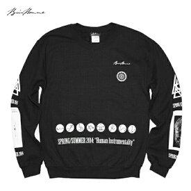 【半額50%OFFクーポン】BRIU HOMME (ブリウ オム) FRAMES OF MIND SWEATSHIRT (BLACK) [スウェットシャツ トレーナー クルーネック トップス ブランド グラフィック ロゴ ストリート スポーツ スケート メンズ レディース ユニセックス UNISEX] [ブラック]