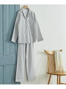 [Rakuten Fashion]ダブルガーゼ無地 パジャマ une nana cool ウンナナクール インナー/ナイトウェア ルームウェア/その他 グレー ネイビー【送料無料】