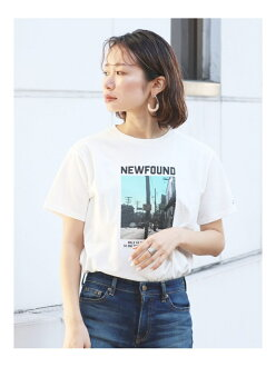[Rakuten Fashion] photoprint logo Tee Ungrid Ann grid cut-and-sew T-shirt white gray beige