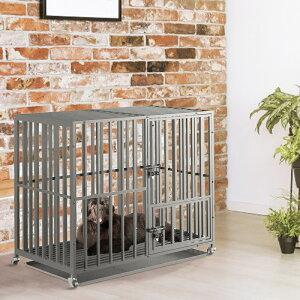 犬用ケージ スチール製 キャスター付き ペットサークル 大きめ 特大 長方形 犬小屋 室内/屋外 夏 おしゃれ アウトドア トレー/すのこ/ドア付き 頑丈 25kg以下小型/中型/大型犬 にわとり/うさぎ
