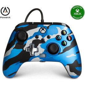 PowerA Xbox one コントローラー 背面ボタン付き PC対応 有線 メタリックカモブルー 海外限定