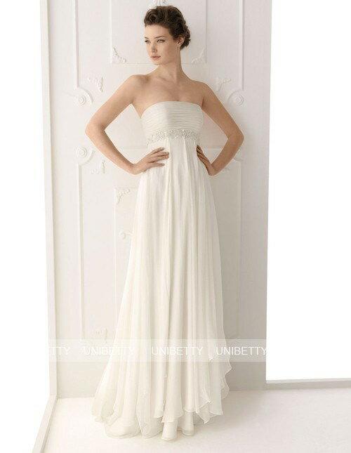 【送料無料】ウェディングドレス ウエディングドレス エンパイア スレンダーライン 格安 披露宴 結婚式 二次会 パーティー シフォン WS2259
