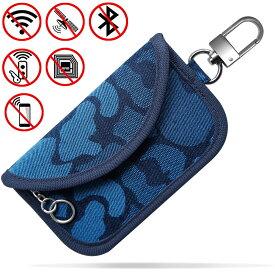 車リレーアタック対策 スマートキーケース 電波遮断ポーチ リレーアタック盗難防止 スマートキーカバー 車の鍵 電子キー完全遮断 最新改良 個性的な迷彩柄 ブルー (S)